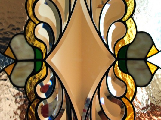 Tiffany stained glass with genuine crystals
