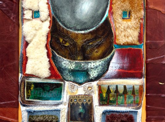 Buddha with fur, leather and jeans, 2004, 70x45cm, mixed technique on wood