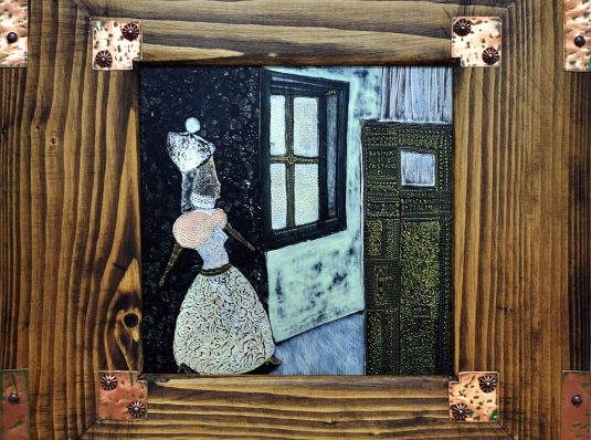 Princess and her castle, 2004, 35x35cm, acrylic on wood
