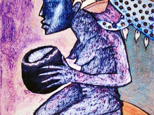 In genunchi, 2005, 10x15cm, pastel pe hartie