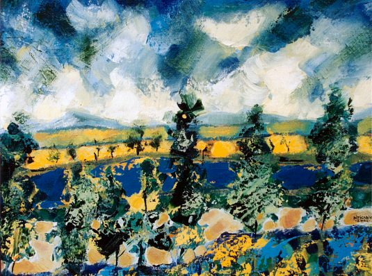 Blue and yellow, 2002, 50x50cm, oil on canvas