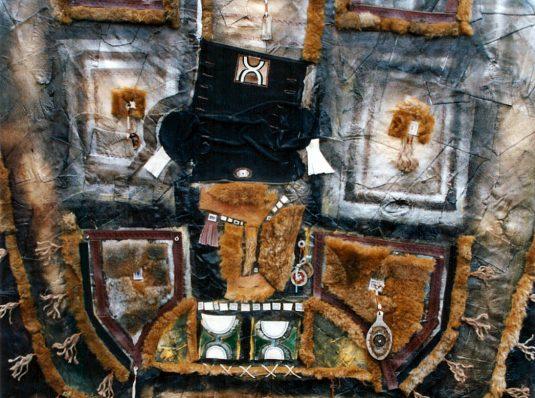 Portret cu blana, 2004, 100x100cm, piele, blana