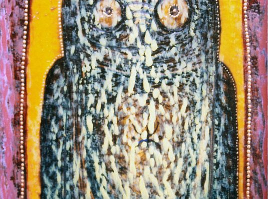 Owl I, 2003, 15x10cm, mixed technique on paper