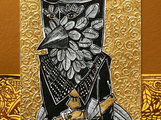 Owl IV, 2007, 10x15cm, graphics and gold foil