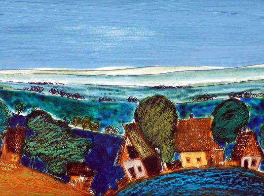 Landscape, 2004, 29x19cm, pastel on cardboard
