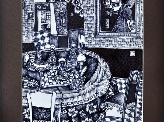 Bar A.P., 2007, 40x30cm, marker on paper