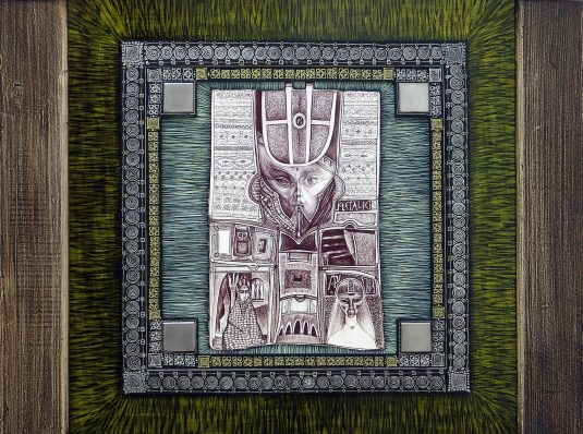 Metallic Buddha, 2004, 50x50cm, pen on cardboard