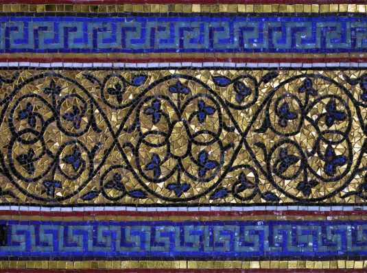 Micromosaic with gold and Murano glass