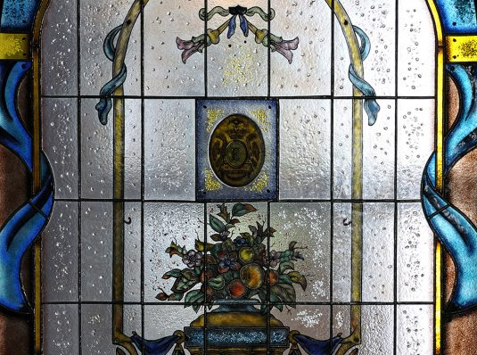 Classic stained glass, Art Nouveau, painted and burned glass
